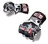 FIGHTSENSE Padded Gel Inner Gloves with Long Wraps for Boxing MMA Wrist Hand Wraps Muay Thai Under Gloves Training Pair (Camo Gray, Medium)