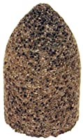 "PFERD 61829 Type 16 Round Nose Cone, Aluminum Oxide, 2"" Diameter x 3"" Length, 5/8-11 Thread, 18144 rpm, 16 Grit"