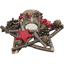 The Stockbridge Star Homespun Table Top Centerpiece with Faux Berries, Red Cut Out Christmas Stars, Pine Cones and Twigs, Glass Candle Holder Included, 7 3/4 Inches Wide, By Whole House Worlds