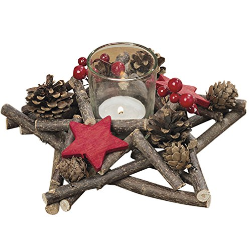 The Stockbridge Star Homespun Table Top Centerpiece with Faux Berries, Red Cut Out Christmas Stars, Pine Cones and Twigs, Glass Candle Holder Included, 7 3/4 Inches Wide, By Whole House Worlds (Wreath Out Hand Christmas Cut)