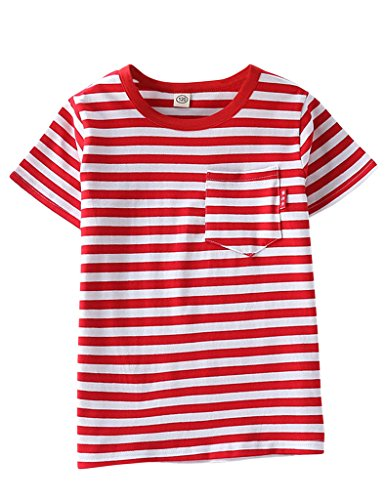 ASHERANGEL Unisex Kids Classic Striped T-Shirt Girls Boys Crewneck Jersey Tee Red&White Thick Stripes 7-8Y ()