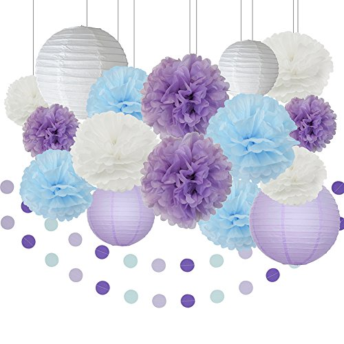 Furuix Unicon Party Supplies White Lavender Baby Blue Purple 10inch 8inch Tissue Paper Pom Pom Paper Lanterns for Lavender Themed Party Bridal Shower Decor Baby Shower Decorations