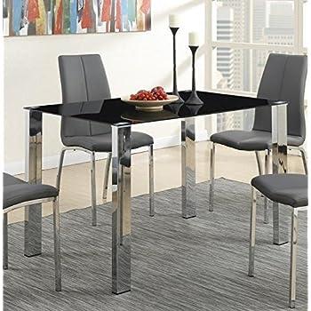 Poundex F2314 Mesa para Comedor Estilo Moderno, Color Negro y Plata ...