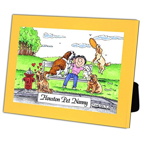 Personalized Friendly Folks Cartoon Caricature in a Color Block Frame Gift: Dog Lover - Female Great for animal rescue, pet sitter, dog walker by Printed Perfection (Image #2)