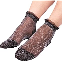 RoseSummer 1Pair Women Summer Ruffle Glitter Mesh Ankle Socks Silver Gauze Fishnet Socks (Sliver Dot)