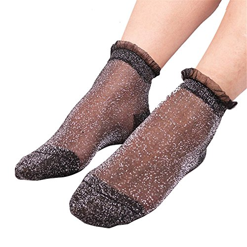 RoseSummer 1Pair Women Summer Ruffle Glitter Mesh Ankle Socks Silver Gauze Fishnet Socks (Sliver (Dot Fishnet)