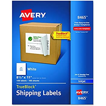 """Avery Shipping Labels with TrueBlock Technology for Inkjet Printers 0, 8-1/2"""" x 11"""", Box of 100 (8465)"""