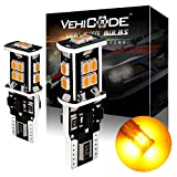 VehiCode Super Bright 900 Lumens 194 168 W5W 2825 T10 Wedge (3000K Gold Yellow) LED Light Bulb - High Power 14 SMD-3020 CanBus Error Free for Map, Dome, License Plate, Side Marker Lights (2 Pack)