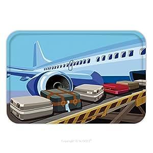 Franela de microfibra antideslizante suela de goma suave absorbente Felpudo alfombra alfombra alfombra estilizado Vector ilustración sobre el tema de la aviación civil moderno Jet avión listo para tomar en 465001862para interiores/o