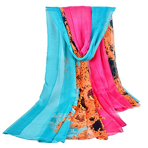 GERINLY Chiffon Sarong Wrap: Spray-Painting Design Plus Size Beach Cover Up (Rose)