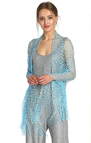 MissShorthair Lightweight Confetti Scarf Solid Women Shawls Wraps For Evening Dresses(Sky blue) (Mesh Blue Sky Jacket)