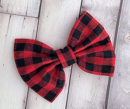plaid bow - checkered bow - buffalo plaid bow - plaid bow - red and black bow headband - girls headband - buffalo print bow - lumber jack bow - checkered red and black bow - valentines bow - My 1st