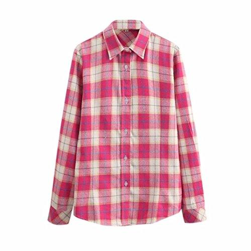 Shirt C Blouse Longue Longues Chemisier Classique Carreaux Ansenesna Manches Femme Top 4vw8q8