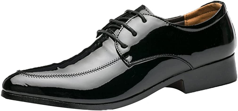 Mens Casual Fashion Modern Smooth Ankle Pointed Toe Lace Up Oxfords Shoes Black
