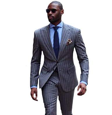 detailed images temperament shoes reliable quality Shahan Men's Pinstripe Suits Slim Fit Tuxedos 2 Piece ...