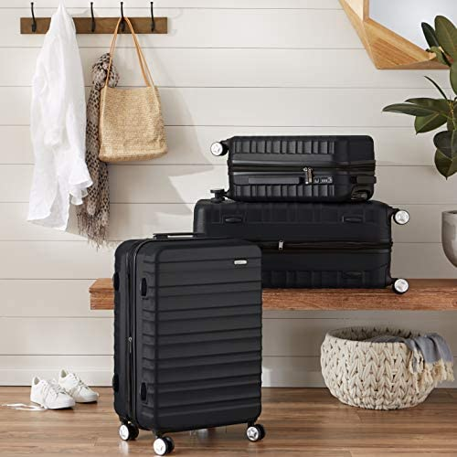 Amazon Basics Premium Hardside Spinner Luggage with Built-In TSA Lock - 26-Inch, Black