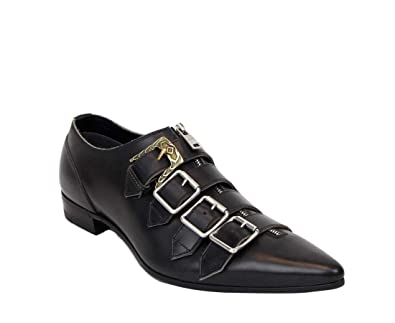 bdd419a4c976f Amazon.com: Gucci Men's Cordovan Lux Black Leather Shoes with Buckle ...
