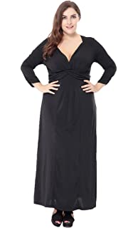 0dab8c39cb Bigood Women Ladies Plus Size Long Sleeve Deep V Casual Summer Maxi Dress