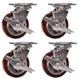 Service Caster SCC-30CS520-PPUR-TLB-4 Heavy Duty Swivel Casters with Brakes, Non-marking Polyurethane Wheel, 5'' Size (Pack of 4)