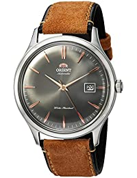 Men's 'Bambino Version 4' Japanese Automatic Stainless Steel and Leather Dress Watch, Color:Brown (Model: FAC08003A0)