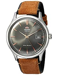 Orient Men's 'Bambino Version 4' Japanese Automatic Stainless Steel and Leather Dress Watch, Color:Brown