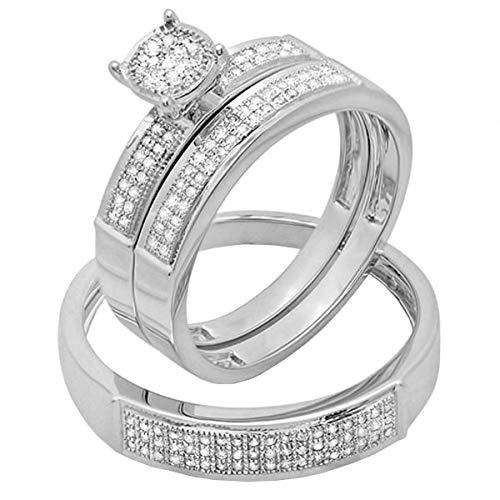 Dazzlingrock Collection 0.33 Carat (ctw) Round White Diamond Men & Women's Micro Pave Engagement Ring Trio Bridal Set 1/3 CT, Sterling Silver