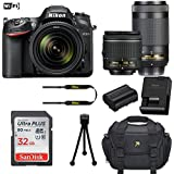 Nikon D7200 DSLR Camera (Wi-Fi) with Nikon AF-P DX 18-55mm f/3.5-5.6G VR Lens + Nikon AF-P DX NIKKOR 70-300mm f/4.5-6.3G ED Lens + 32GB Memory + Camera Carrying Bag + Tripod (Certified Refurbished)