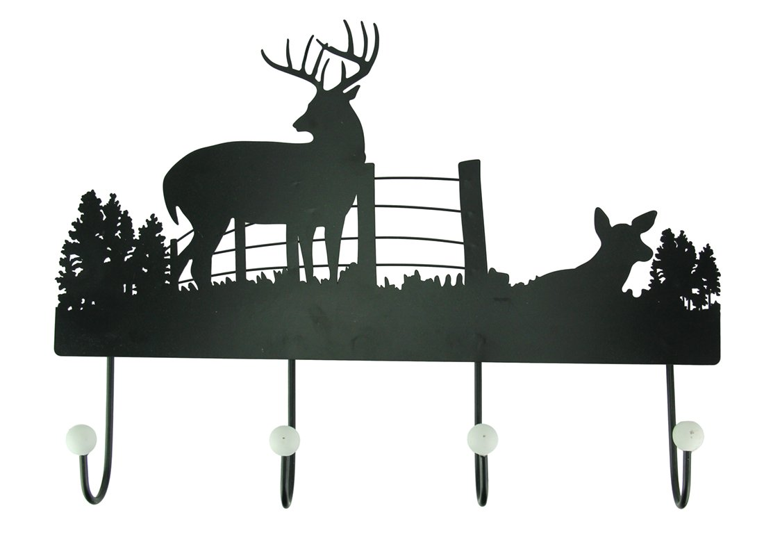 Timeless By Design Metal Decorative Wall Hooks Black Rustic Metal Deer Silhouette Wall Hook 17.5 X 12.75 X 2 Inches Black