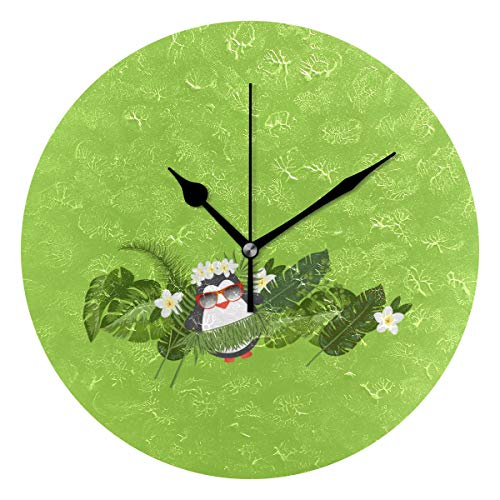 - Hawaii Holiday Penguin Round Clock Non Ticking Excellent Accurate Sweep Movement Glass Cover Modern Decorative Kitchen Living Room Bathroom Bedroom Office