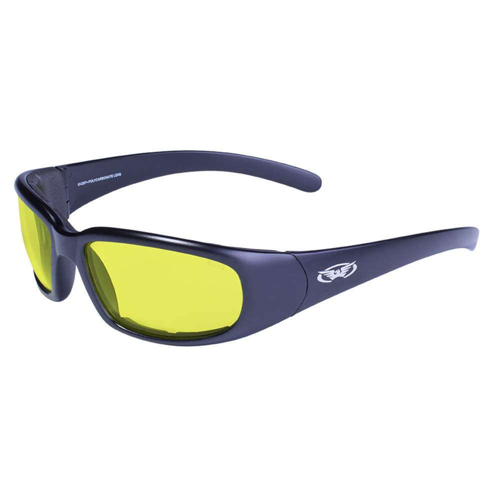 73d53cd2c8bf Amazon.com  Global Vision Chicago XL Padded Motorcycle Riding Glasses Black  with Yellow Lens  Automotive