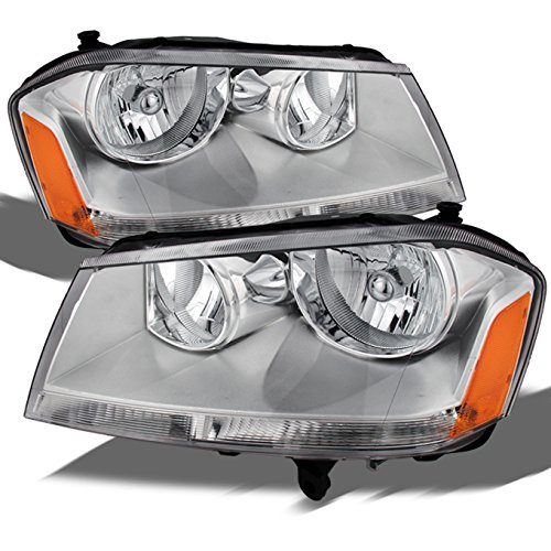 For Dodge Avenger OE Replacement Chrome Bezel Headlights Driver/Passenger Head Lamps Pair New