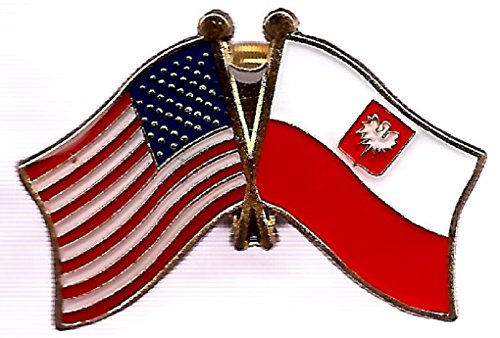 Box of 12 Poland Eagle & US Crossed Flag Lapel Pins, Polish Eagle & American Double Friendship Pin Badge (Lapel Georgia Pin)