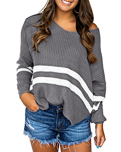 Sibylla Women's Casual Loose V Neck Long Sleeve Side Split High Low Striped Sweaters Oversized Knit Pullover Jumper