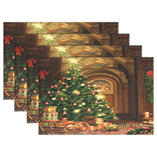 Christmas Tree Gifts And Fireplace Placemats Set of 2 Table Mat, Table mats Placemats Heat-resistant Stain Resistant Washable for Kitchen Dining Decoration 12″ x 18″