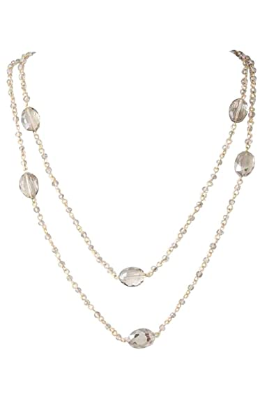 "1920s Jewelry Styles History Extra Long Delicate Light Smoky Gray Color Glass Bead and Gold-Tone Layered Station Necklace 48"" with Earrings $23.99 AT vintagedancer.com"