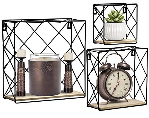 (Sorbus Floating Shelves Square Set Wall Mounted Metal & Rustic Wood Storage for Photo Frames, Home Décor, Great for Living Room, Office, Bedroom, Bathroom, etc (Set of 3))