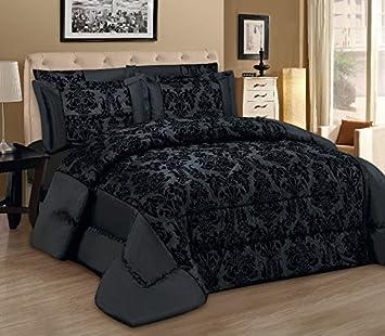 couvre lit moderne Lisa noir Lot de 3 Couvre lit moderne Flock damassé Luxe tröster  couvre lit moderne