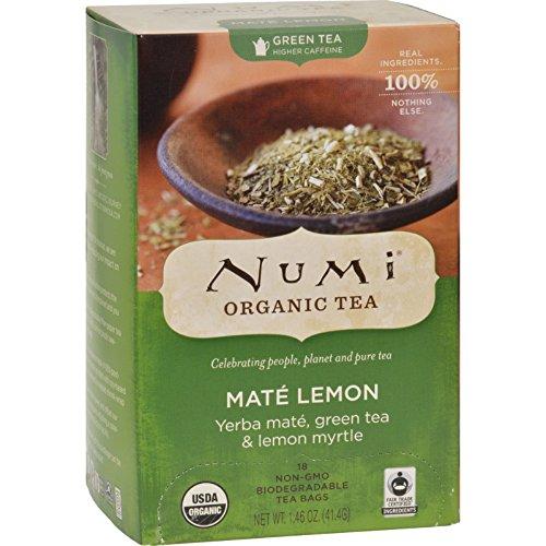Numi Rainforest Green Tea Mate Lemon - 18 Tea Bags - Case of 6 (Rainforest Numi Mate Green)