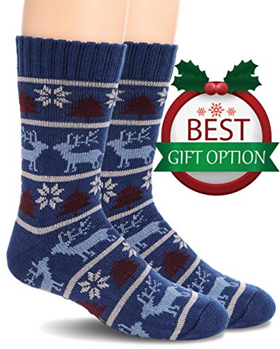 Mens Fuzzy Slipper Socks Warm Thick Heavy Fleece lined Christmas Stockings Fluffy Winter Socks With Grippers (Blue B) ()