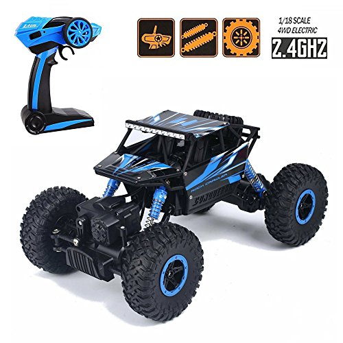 Tuptoel Toys for Boys Off-road RC cars 1:18 Scale Mouster Car 2.4Ghz 4WD High Speed Racing Cars, Rock Crawler Truck-Blue, Electric Cars for Kids