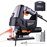 Jigsaw, Tacklife 6.7 Amp 3000 SPM Jig Saw with Laser & LED, 10feet(3M) Cord Length, Pure Copper Motor, 6 Blades, Max Bevel Cutting Angle (-45°-45°), Variable Speed Dial (1-6), Carrying Case - PJS02A