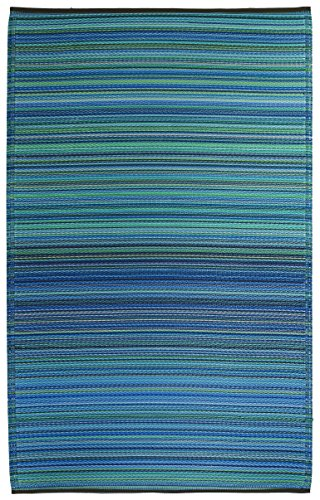 Fab Habitat Reversible Rugs | Indoor or Outdoor Use | Stain Resistant, Easy to Clean Weather Resistant Floor Mats | Cancun - Turquoise & Moss Green, (5' x 8') (Outside Rugs For Decks)