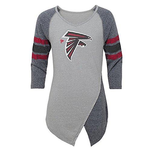 NFL Atlanta Falcons Juniors Lavish Crossover Asymmetric Hem Top ... f2884fc6a