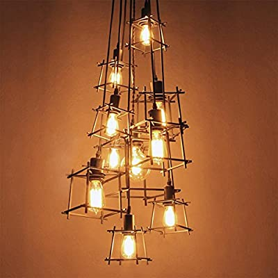 NIUYAO Vintage Adjustable Wrought Iron Branched Pendant Chandelier Industrial Metal Cage Shape Ceiling Light Hanging Lighting Fixture with 10 lights,Pewter Finish