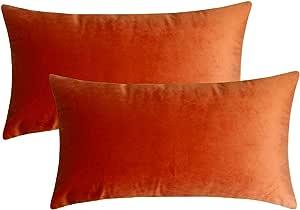 Artcest Set Of 2 Cozy Solid Velvet Throw Pillow Case Decorative Couch Cushion Cover Soft Sofa Euro Sham With Zipper Hidden 12 X20 Burnt Orange Home Kitchen Amazon Com
