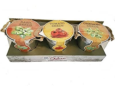 Italian Herb Garden Set | Includes 3 Tin Buckets/Planters, Basil, Oregano, and Tomato Seeds with Soil Pods. By Modern Gourmet Foods