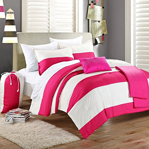 Reversible Girls Teen Dorm Comforter Bedding Bed in a Bag Set Hot Pink Ivory Pillow Blanket (twin xl)