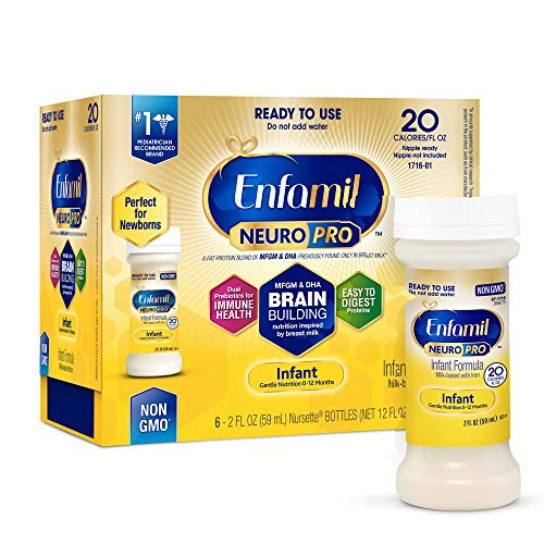 Enfamil NeuroPro Ready to Feed Baby Formula Milk Nursette, 2 fluid ounce (6 count) - MFGM, Omega 3 DHA, Probiotics, Iron & Immune Support (Best Formula To Use For Newborns)
