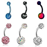 Musesland 6 Packs 14g Belly Button Rings 316L Surgical Steel Body Piercing Jewelry Navel Ring for Women