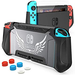 HEYSTOP Case Compatible with Nintendo Switch Case Screen Protector,TPU Protective Heavy Duty Cover Case for Nintendo Switch with Shock Absorption and Anti-Scratch (Black)